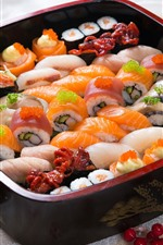 Preview iPhone wallpaper Sushi, caviar, rolls, Japanese food