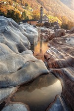 Preview iPhone wallpaper Switzerland, Lavertezzo, rocks, stream, village