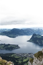 Preview iPhone wallpaper Switzerland, mountains, river, city, top view