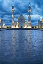 Tatarstan, mosque, water, clouds, lights, night