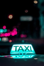 Preview iPhone wallpaper Taxi light, night