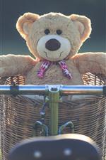 iPhone fondos de pantalla Oso de peluche, cesta, bicicleta