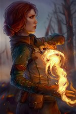 Preview iPhone wallpaper The Witcher 3: Wild Hunt, girl, magic, fire