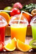 Preview iPhone wallpaper Three cups of juice, tomato, orange, kiwi, fruits