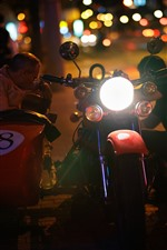 Preview iPhone wallpaper Three-wheeled motorcycle, front lights, night