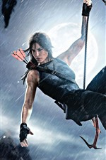 Preview iPhone wallpaper Tomb Raider, Lara Croft, rope, rainy, moon, night