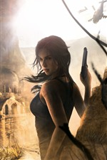 Preview iPhone wallpaper Tomb Raider, Lara Croft, ruins, helicopter