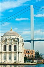 Preview iPhone wallpaper Turkey, Istanbul, mosque, bridge, river