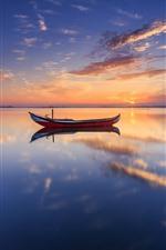 Two boats, lake, water reflection, sunset