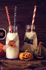 Preview iPhone wallpaper Two bottles of milk, cupcakes, pumpkin, Halloween
