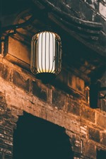 Preview iPhone wallpaper Two lanterns, lights, night, wall