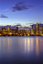 Preview iPhone wallpaper USA, Illinois, Chicago, skyscrapers, Lake Michigan, night, lights