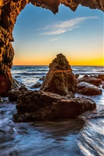 Preview iPhone wallpaper USA, Malibu, rocks, sea, cave, sunshine