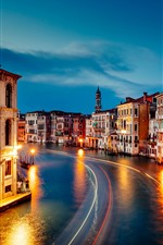 Preview iPhone wallpaper Venice, Grand Canal, beautiful night, houses, lights, night, Italy