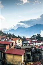 Vietnã, montanhas, casas, nuvens, pôr do sol