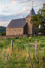 Village, fence, grass, trees, church