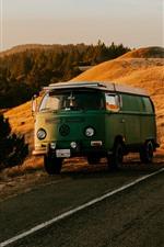 Volkswagen car, road, mountains