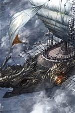 Guerra, veleiro, mar, imagens de arte