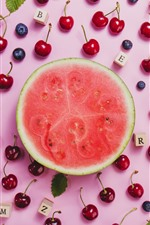 Preview iPhone wallpaper Watermelon and red cherries