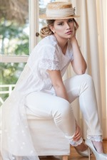 White dress girl, hat, blonde, room, window