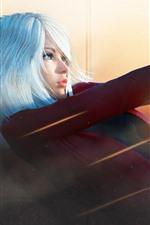 Garota de fantasia de cabelo branco, arma, pose