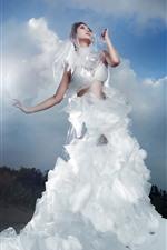 White skirt Asian girl, clouds, art photography