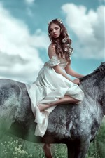 Preview iPhone wallpaper White skirt girl ride horse, flowers, clouds