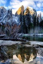 Inverno, rio, árvores, montanhas, neve, Parque Nacional de Yosemite, EUA