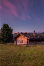 Preview iPhone wallpaper Wood house, trees, mountains, grass, dusk
