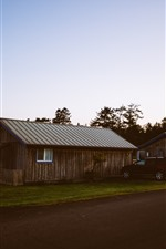 Preview iPhone wallpaper Wood houses, car, road, dusk