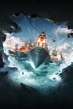 Preview iPhone wallpaper World of Warships, hole, battle