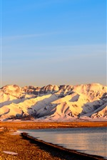 Preview iPhone wallpaper Xinjiang Sailimu Lake, mountain, snow, sunrise