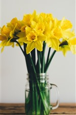 Preview iPhone wallpaper Yellow flowers, daffodils, bouquet, vase