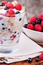 Yogurt, dessert, raspberry