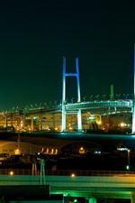 Yokohama Bay Bridge, Japan, city, night, lights