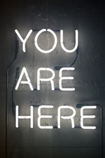 You are here, text, neon lights
