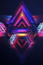 Abstract triangle, creative design, purple and blue
