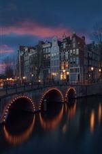iPhone fondos de pantalla Amsterdam, Países Bajos, río, puente, noche, luces, edificios
