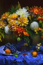 Preview iPhone wallpaper Apricot, grapes, dahlia, flowers, vase, still life