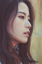 Preview iPhone wallpaper Asian girl, black hair, face, side view