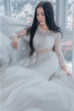 Preview iPhone wallpaper Asian girl, bride, white skirt, pose, window, chair