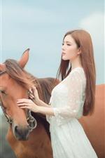 Preview iPhone wallpaper Asian girl, long hair, brown horse