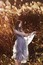 Preview iPhone wallpaper Asian girl, skirt, reeds, summer