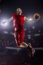 Preview iPhone wallpaper Athlete, basketball, male, jumping, sport