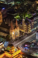 Preview iPhone wallpaper Australia, Melbourne, city night, top view, buildings, roads, illumination