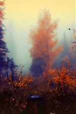 Preview iPhone wallpaper Autumn, trees, fog, art painting