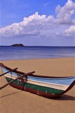 Vorschau des iPhone Hintergrundbilder Strand, Boot, Meer, Wolken