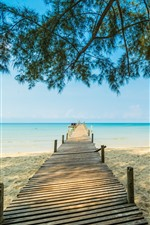 Preview iPhone wallpaper Beach, sands, pier, trees, sea, tropical