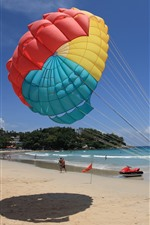 Preview iPhone wallpaper Beach, sea, people, parachute
