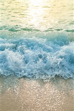 Beach, sea, waves, water splash, foam